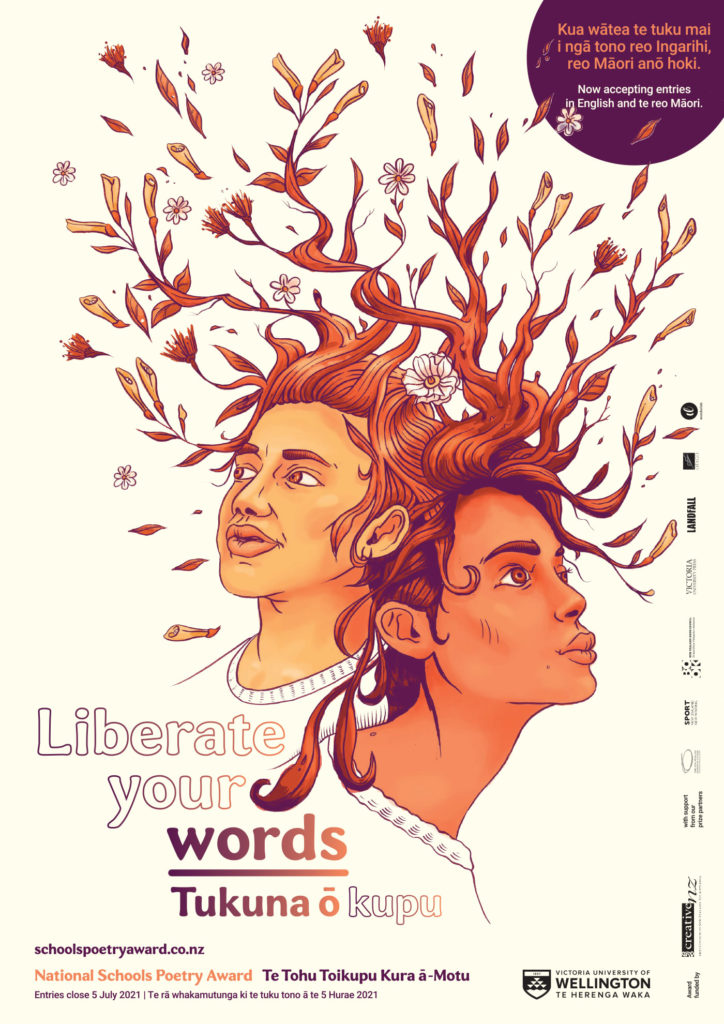 "Poetry Award Promo poster ""Liberate your Words"" / ""Tukuna ō kupu"""